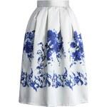 CHICWISH Dámská sukně Midi Ceramic Blue Rose