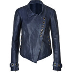Donna Karan New York Leather Asymmetric Jacket