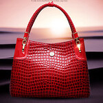 LightInTheBox Erlen Women's Korean Style Crocodile Pattern Tote/One Shoulder Bag(Red)