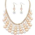 BAGISIMO Náhrdelník z bílých a růžových perel