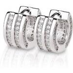 Meucci Luxusní stříbrné náušnice kroužky s desítkami zirkonů