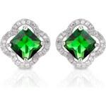 Meucci Elegantní stříbrné náušnice se smaragdem