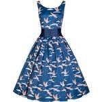 Dámské šaty Lindy Bop Lana modré s jeřáby