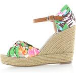 Bílo-zelené květované platformové sandály Refresh 61719