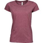 Dámské melírované tričko - Vínová S