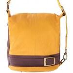Genuine Leather Kabelka batůžek měkká přírodní kůže žlutá
