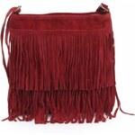 Genuine Leather Kožené kabelky listonošky přírodní semiš červená