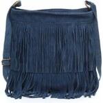 Genuine Leather Kožené kabelky listonošky přírodní semiš modrá