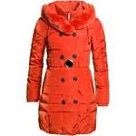 Due Linee Dámská zimní péřová bunda s páskem - oranžová