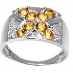 Klenota Diamantový stříbrný prsten s citrinem