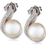 Klenota Perlové náušnice ze stříbra s diamanty