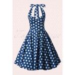 Bunny 50s Meriam Swing dress in Polka navy white