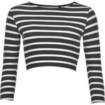 Triko Essentials Three Quarter Crop Top dámské Black/White Str