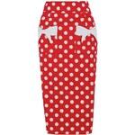 LindyBop pouzdrová sukně Elvgren, červená s puntíky