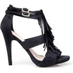 Venca Páskové boty se střapci, na podpatku černá