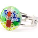 Murano Prsten skleněný - zelený, stromeček barevný - Millefiori