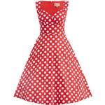 LINDY BOP Retro dámské šaty Layla červené s puntíky Velikost: 52
