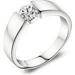 Lesara Ring mit Zirkonia versilbert - Silber - 52