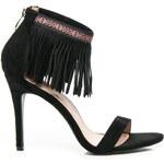 WILADY Půvabné černé dámské sandály s třásněmi, vel. 36