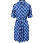 Modré kárované šaty košilového typu Goddiva