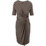 """Hnědo-černé pruhované šaty s """"uzlem"""" v pase Dorothy Perkins"""