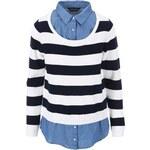 Pruhovaný svetr s všitou denimovou košilí Dorothy Perkins