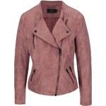 Růžová kratší bunda v semišové úpravě ONLY Biker