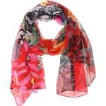 Červený šátek s barevnými vzory Desigual Panu