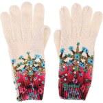 Krémové rukavice s barevnými vzory Desigual Eley