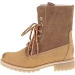 Hnědé zimní kožené boty s kožíškem Tamaris