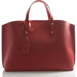 Červená kožená kabelka do ruky ItalY Jordana červená
