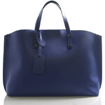 Jeansová kožená kabelka do ruky ItalY Jordana modrá