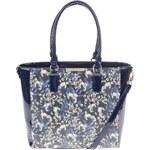 Tmavě modrý květovaný shopper s kosmetickou taštičkou LYDC