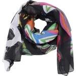 Černý barevně vzorovaný šátek Desigual Rectangle Candy