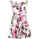 Krémové šaty s květinovým vzorem a spadlými rukávy AX Paris