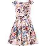 Meruňkové květované šaty se zavazováním v pase Closet