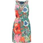 Zelené šaty s barevnými květy a korálky Desigual