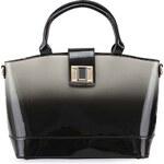 Černo-šedá lesklá kabelka s ombré efektem LYDC