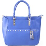 Modrá kabelka s ozdobnou cedulkou LYDC