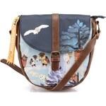 Modrá kabelka přes rameno se sovami Disaster Owl