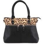 Černá kabelka s leopardím lemem DSUK