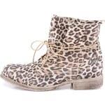 Kotníkové boty s leopardím vzorem Tamaris