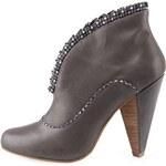 Šedé kožené boty na podpatku Ruby Shoo Charisse