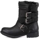 Černé dámské kotníkové boty s přezkami London Rebel Baker