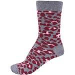 Vínovo-šedé unisex ponožky Happy Socks Leopard