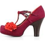 Růžové lodičky s pásky a květinou Ruby Shoo Uma