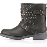 Vyšší černé boty s kovovými cvočky Timeless Pal