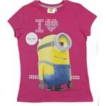 E plus M Dívčí tričko Mimoni - růžové