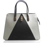 Černo bílo šedá kožená kabelka ItalY Kelly černá