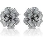 Meucci Luxusní stříbrné květinové náušnice se stovkami zirkonů